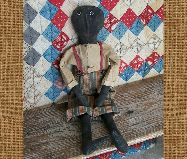 Primitive Black Americana Boy Doll Red White & Blue Pants image 0