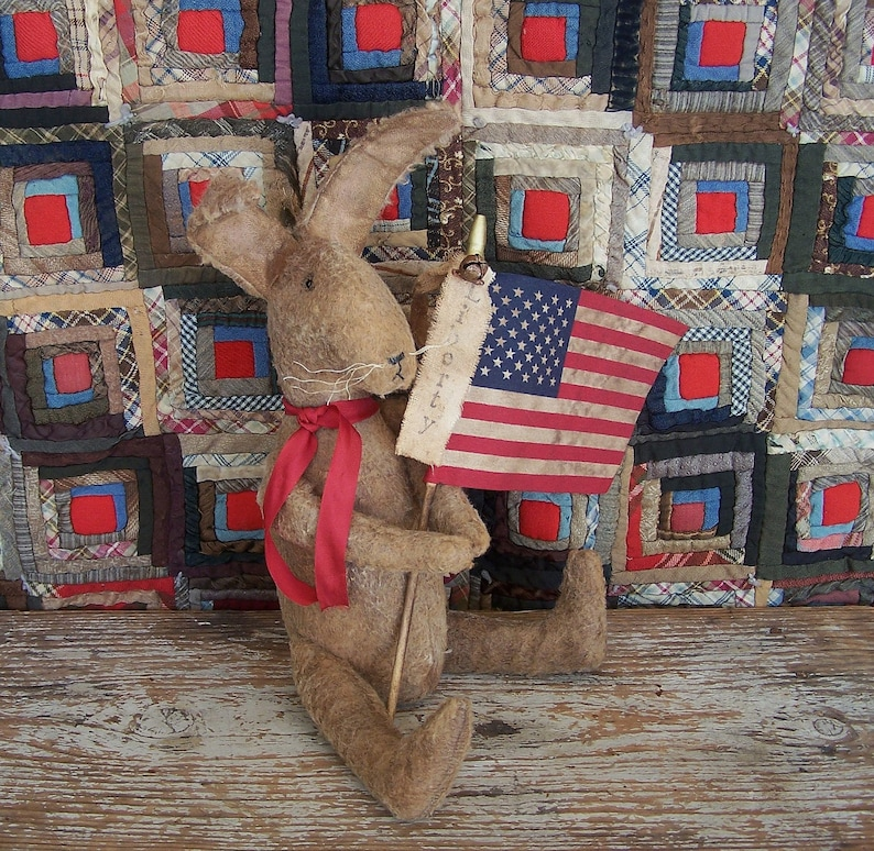 Primitive Rabbit with American Flag Brown Bunny Doll Rustic image 0