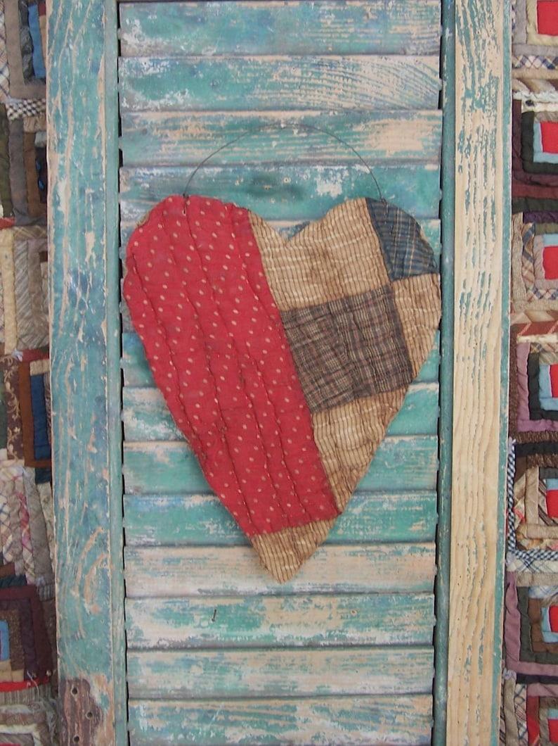 LARGE Tattered Valentine Heart Hanger Antique Quilt Heart image 0