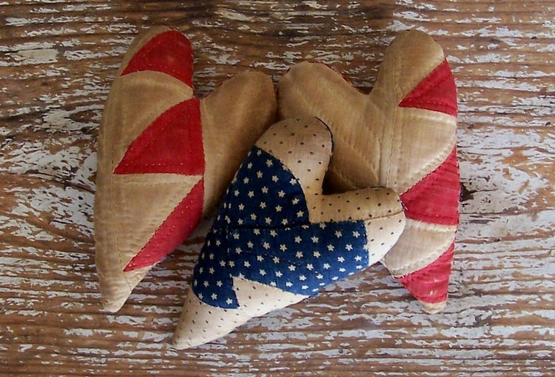 3 Rustic Hearts made from Red & Blue Antique Quilt Primitive image 0