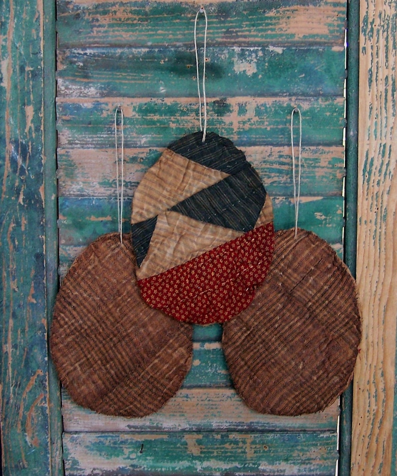 3 Tattered Egg Ornaments Antique Quilt Primitive Eggs image 0
