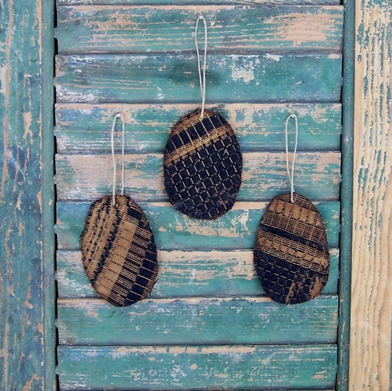 3 Rustic Tattered Egg Ornaments made from Antique Coverlet image 0