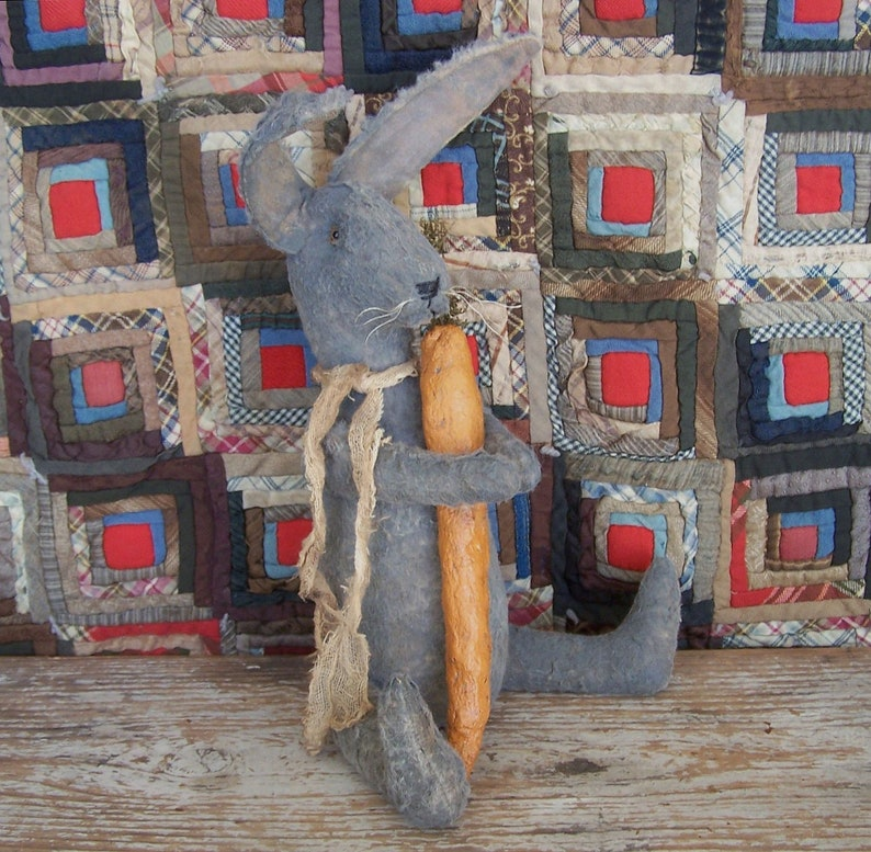 Rustic Rabbit with Carrot Grey Bunny Doll Primitive Spring image 0