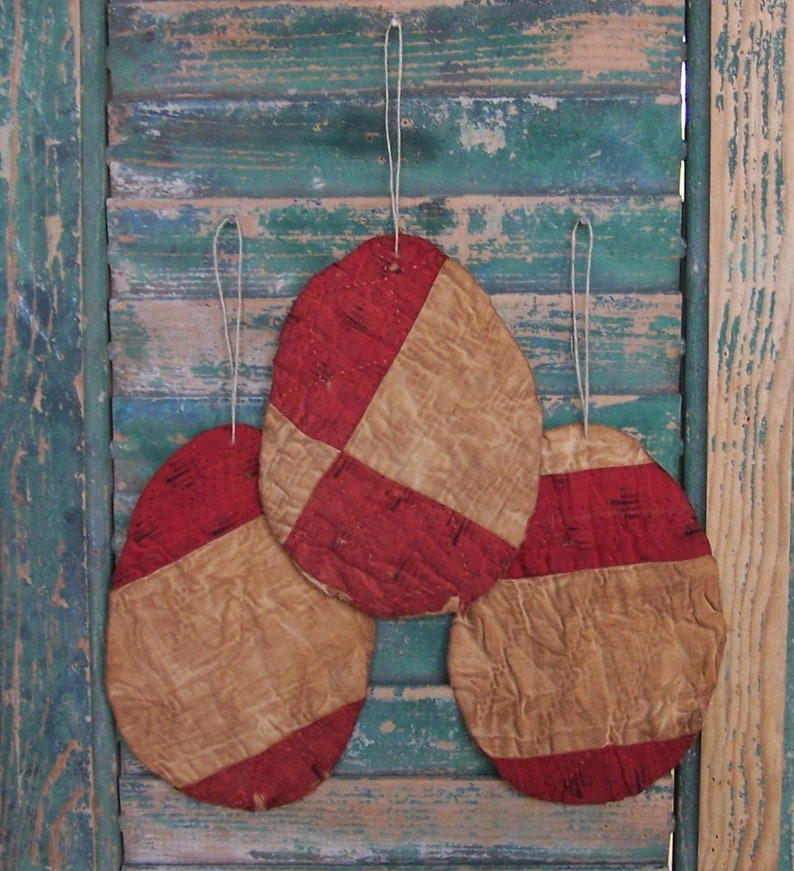 3 LARGE Primitive Egg Ornaments made from Antique Quilt image 0