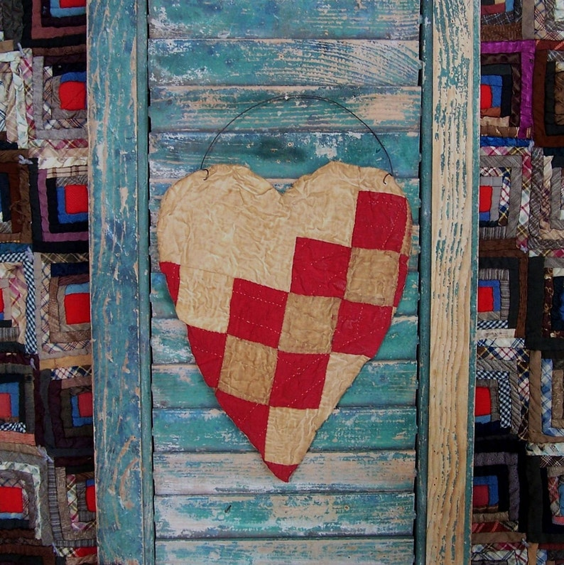 LARGE Tattered Valentine Heart Hanger Antique Quilt Heart image 0