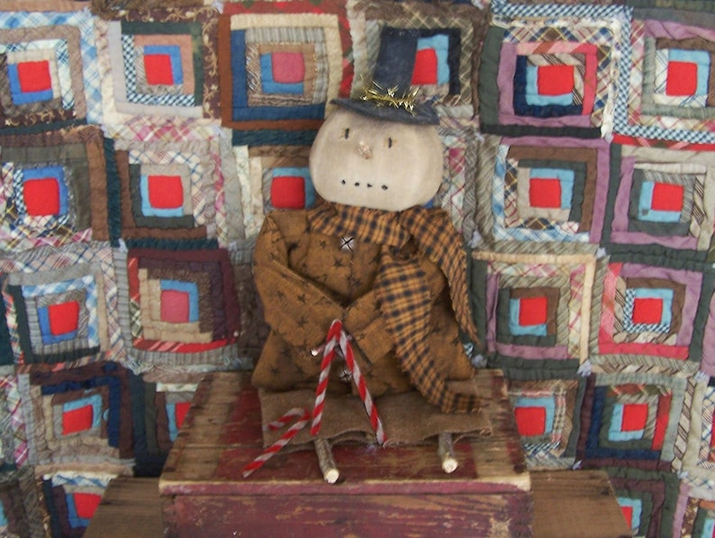 Rustic Snowman Doll with Candy Canes Primitive Country image 0