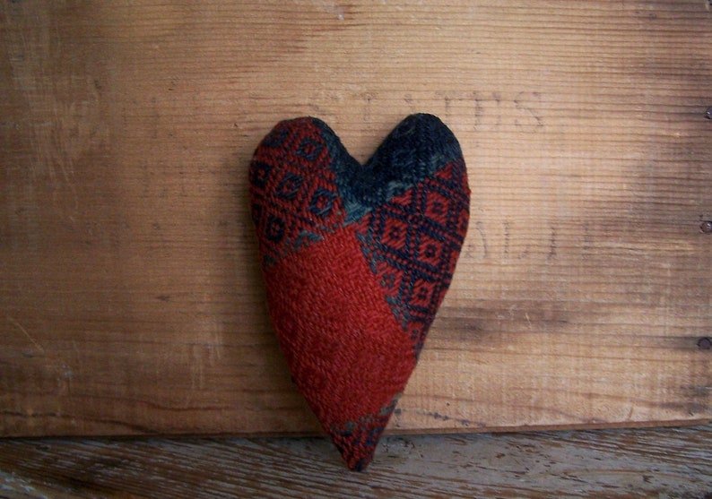 Rustic Heart made from Red & Blue Antique Coverlet Bowl image 0