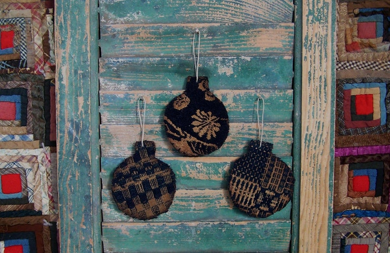 3 Tattered Christmas Ornaments made from Antique Coverlet image 0