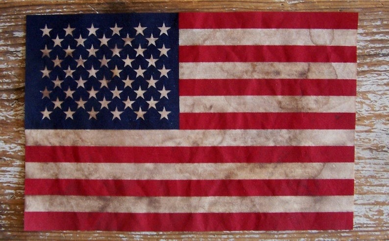8 by 12 Grungy American Flag Rustic Americana image 0