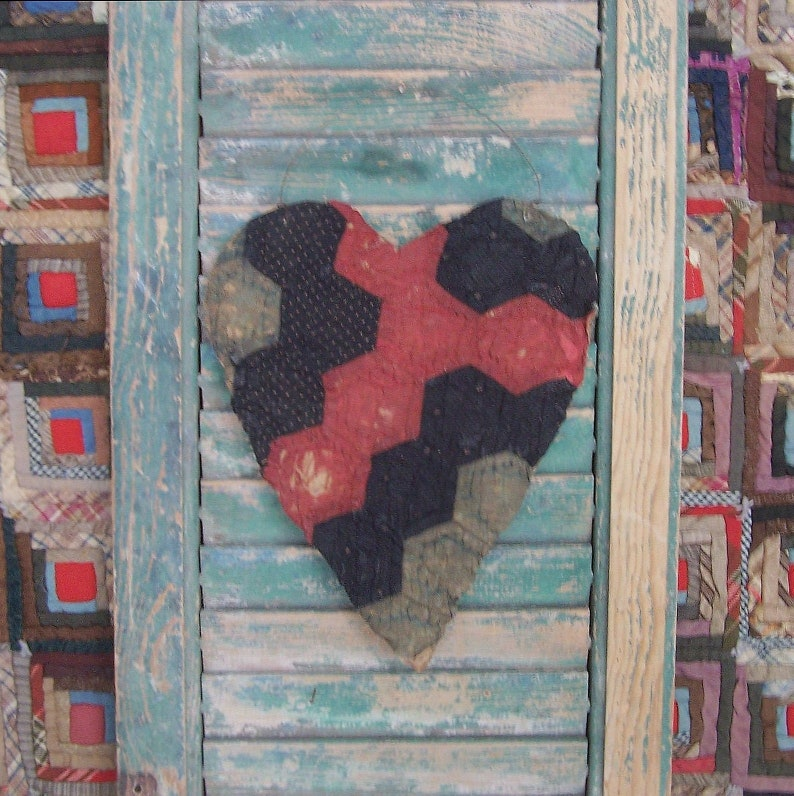 Rustic Heart Hanger Primitive Wall Decor Grandmothers Flower image 0