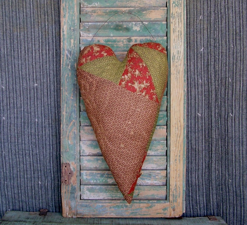 Rustic Heart Door Hanger made from Primitive Civil War Era image 0