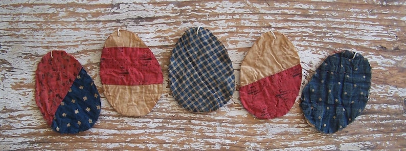 5 Small Primitive Tattered Egg Ornaments Antique Quilt image 0
