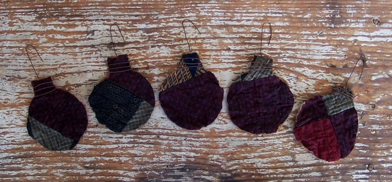 5 Tattered Ornaments made from Antique Quilt Christmas Ball image 0