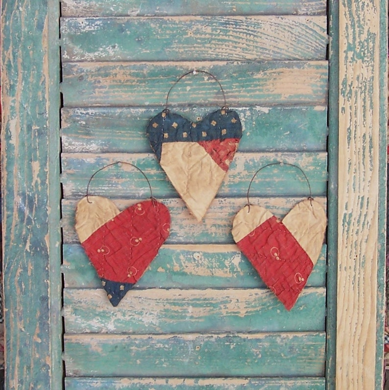 3 Rustic Valentine Heart Ornaments Eco Friendly Tattered image 0