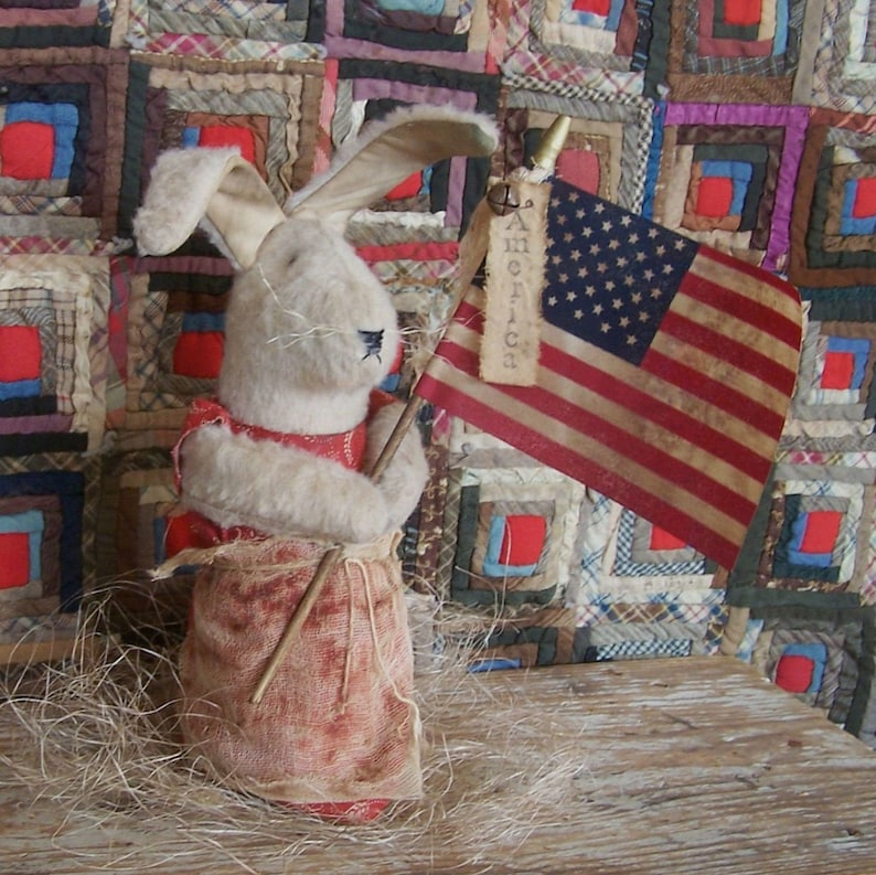 Primitive Rabbit with Flag Americana Bunny Doll Rustic image 0