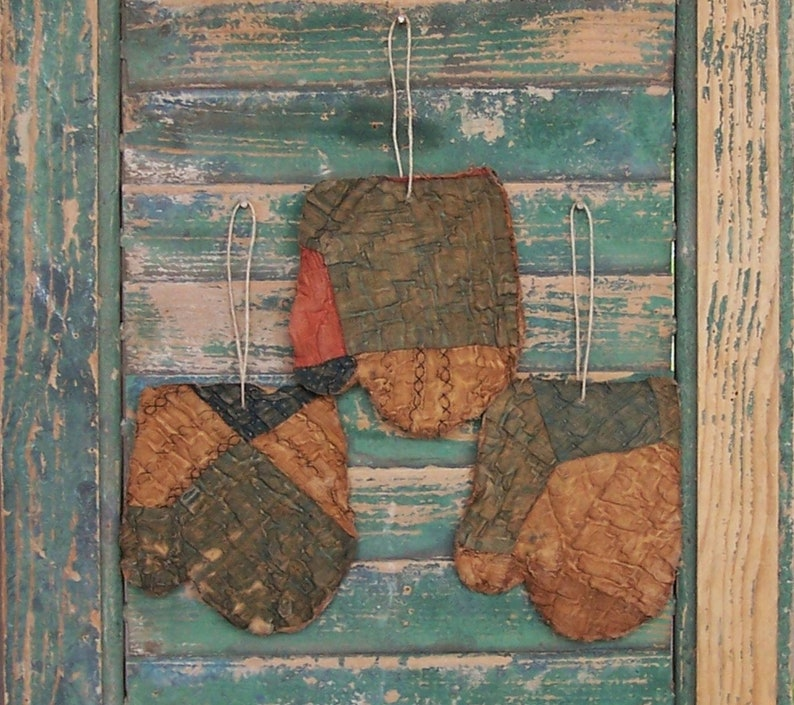 3 Primitive Mitten Ornaments made from Antique Quilt Blue image 0