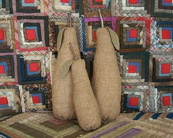 Primitive Pears - set of 3, Wool Fabric Fruit, Rag Stuffed, Rustic Farmhouse, Tiered Tray Decor - READY TO SHIP
