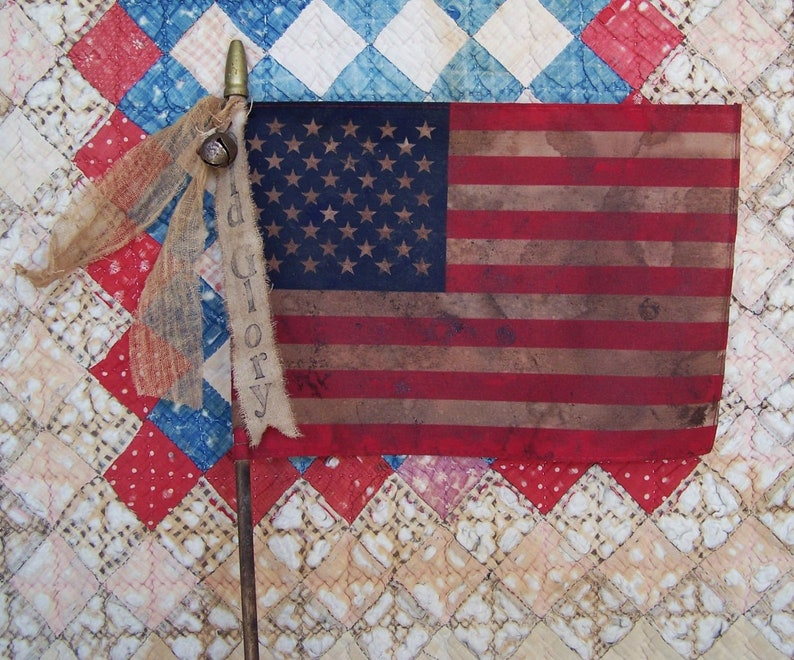 Set of 3  Large Primitive American Flag Antique Look Stick image 0