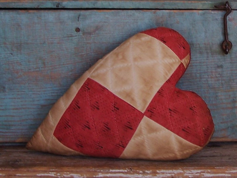 Rustic Heart Pillow made from Antique Quilt Upcycled image 0