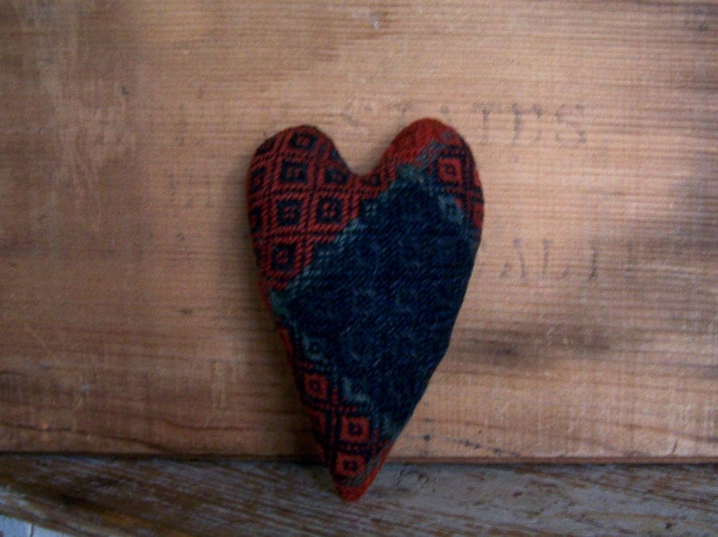Rustic Americana Heart made from Red & Blue Antique Coverlet image 0