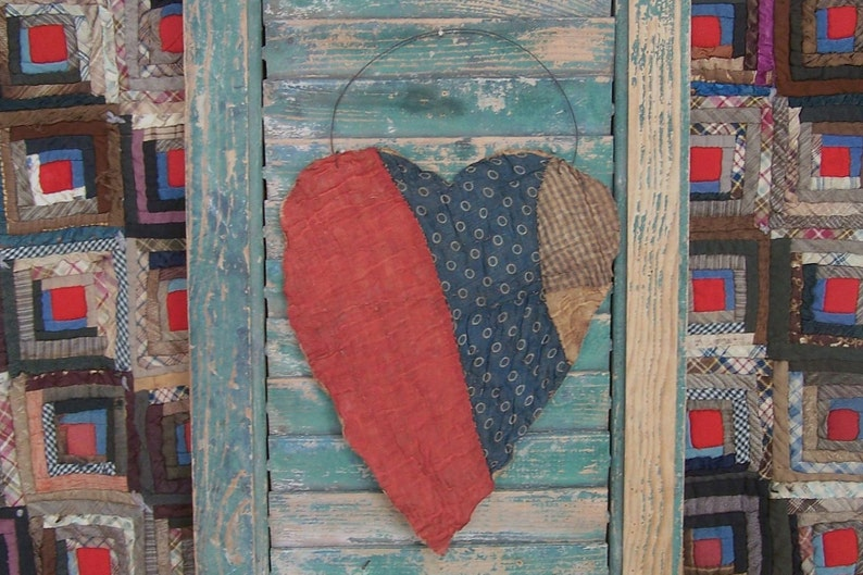 LARGE Tattered Heart Hanger Ornament made from Antique Quilt image 0