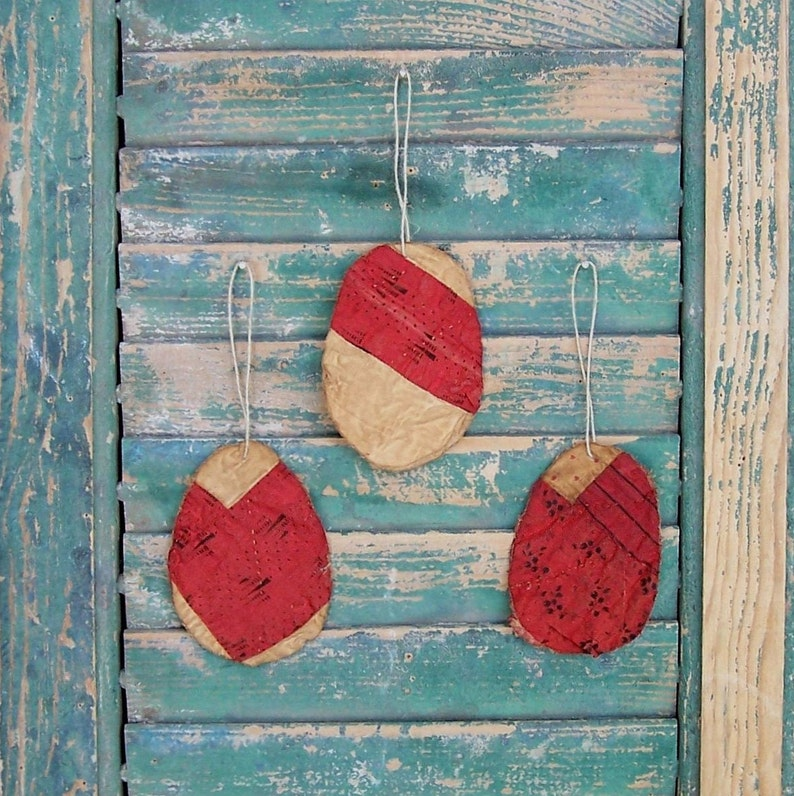 3 Primitive Tattered Egg Ornaments made from Antique Quilt image 0