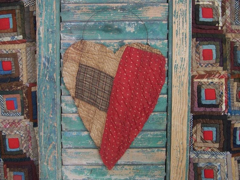 Large Rustic Tattered Heart Primitive Antique Quilt Heart image 0