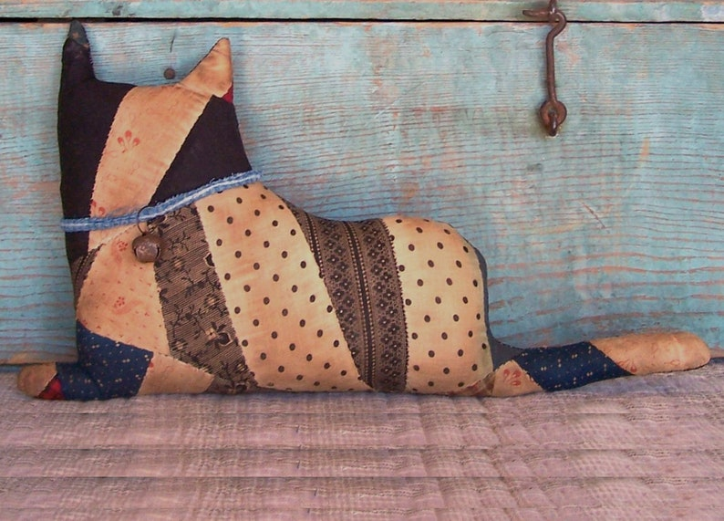 Rustic Stuffed Cat Doll made from Antique Quilt Top Farmhouse image 0