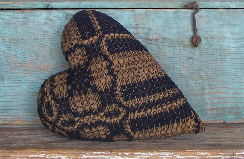 Rustic Heart Pillow made from Antique Coverlet Primitive image 0
