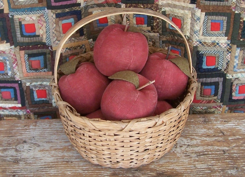 Primitive Rustic Red Apple Bowl Filler Farmhouse Harvest image 0