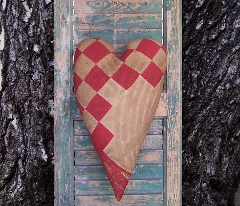 Primitive Heart Door Hanger made from Antique Quilt Red & image 0