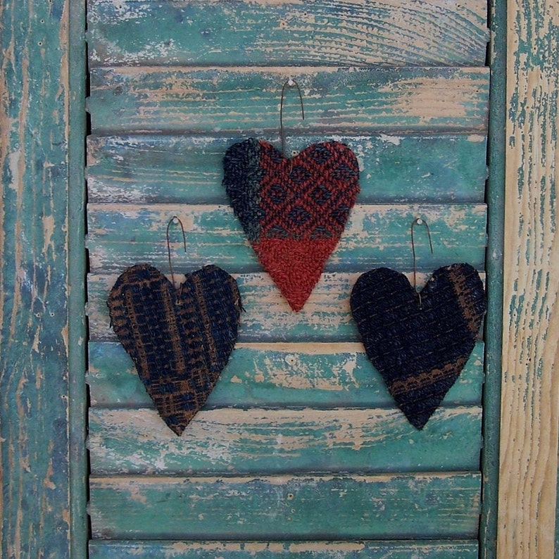 3 SMALL Primitive Tattered Heart Ornaments made from Antique image 0