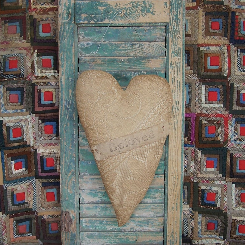 Rustic Heart Door Hanger made from Vintage Lace Curtain image 0