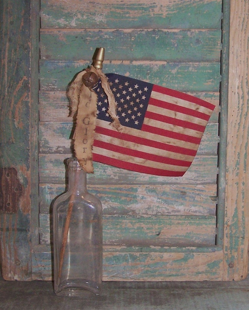 Small Primitive American Flag Antique Look Parade Flag Stick image 0