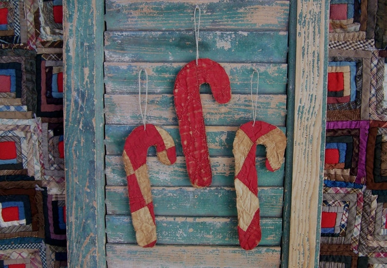 3 Antique Quilt Christmas Ornaments Candy Canes Eco Friendly image 0