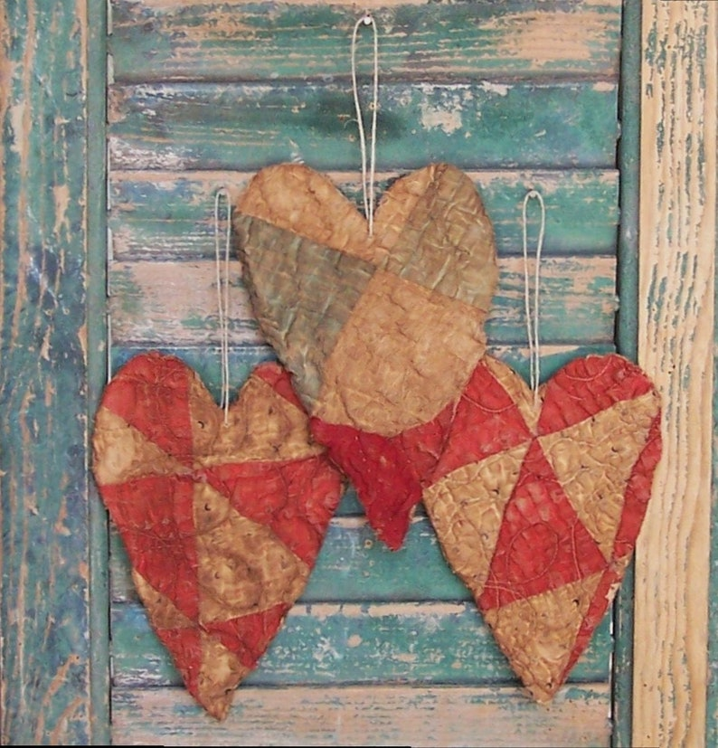3 Primitive Tattered Heart Ornaments Antique Quilt Christmas image 0