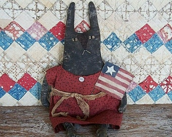 Primitive Rabbit Doll with American Flag, Rustic Black Bunny, 4th of July Americana Easter Decor, Really Handmade - READY TO SHIP
