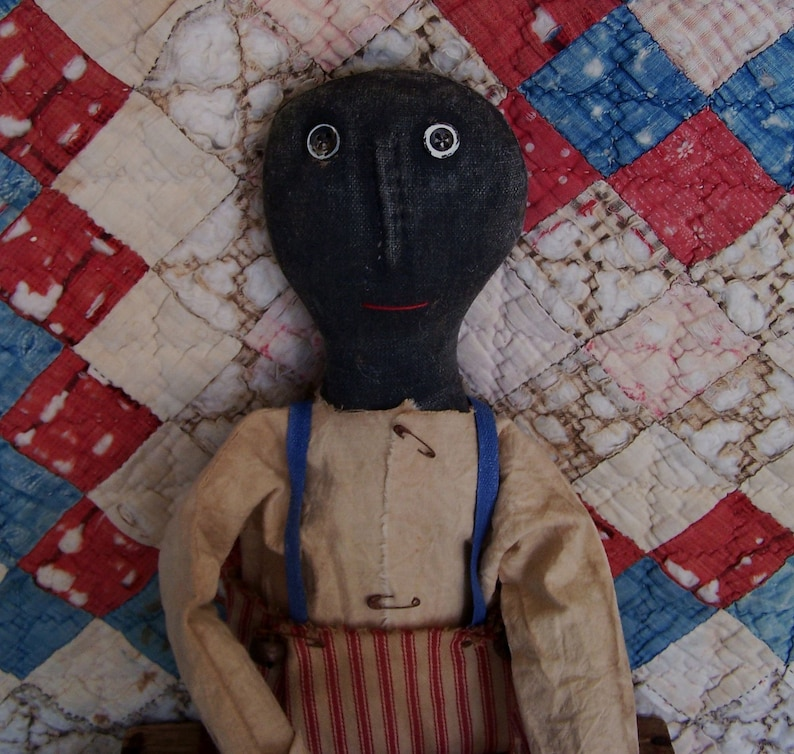 Primitive Black Boy Doll Americana Christmas Decor Red & image 0