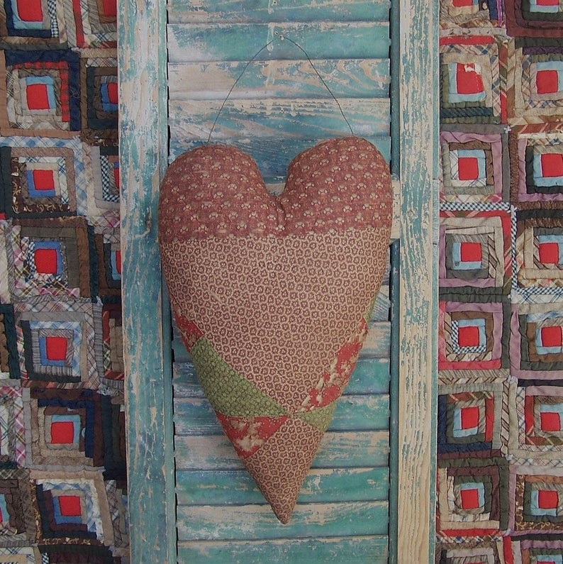 Primitive Heart Door Hanger Farmhouse Valentine Heart Brown image 0