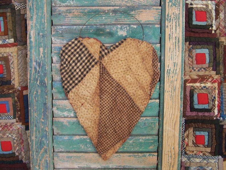 Large Tattered Heart Hanger MENDED HEART Valentines Day image 0