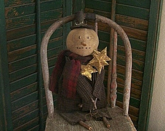 Primitive Snowman Doll with Tarnished Stars, Rustic Country Christmas Decor, Black Grey Green Red - READY TO SHIP