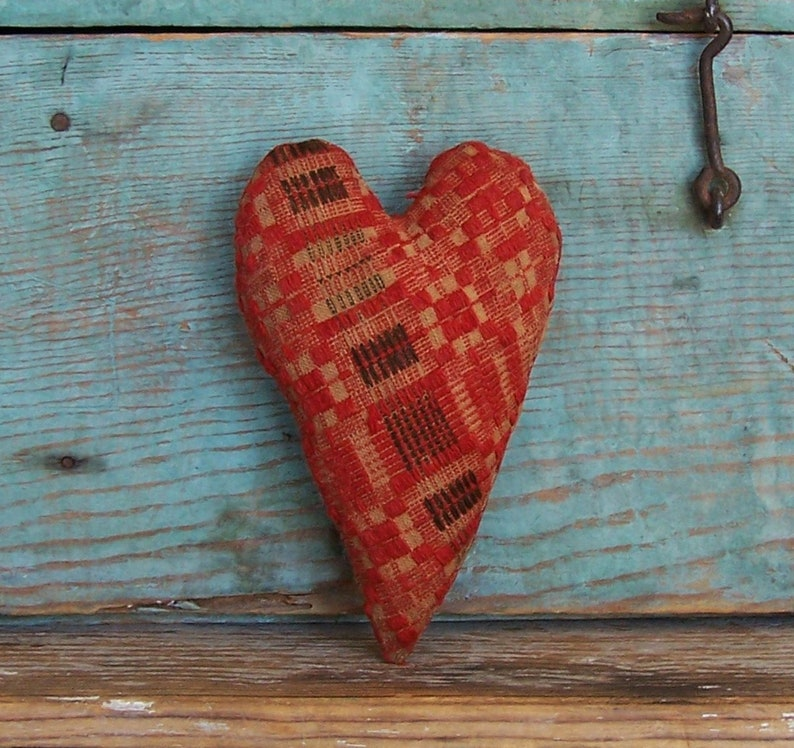 Rustic Heart Ornament or Bowl Filler Red/Brown/Ecru Antique image 0