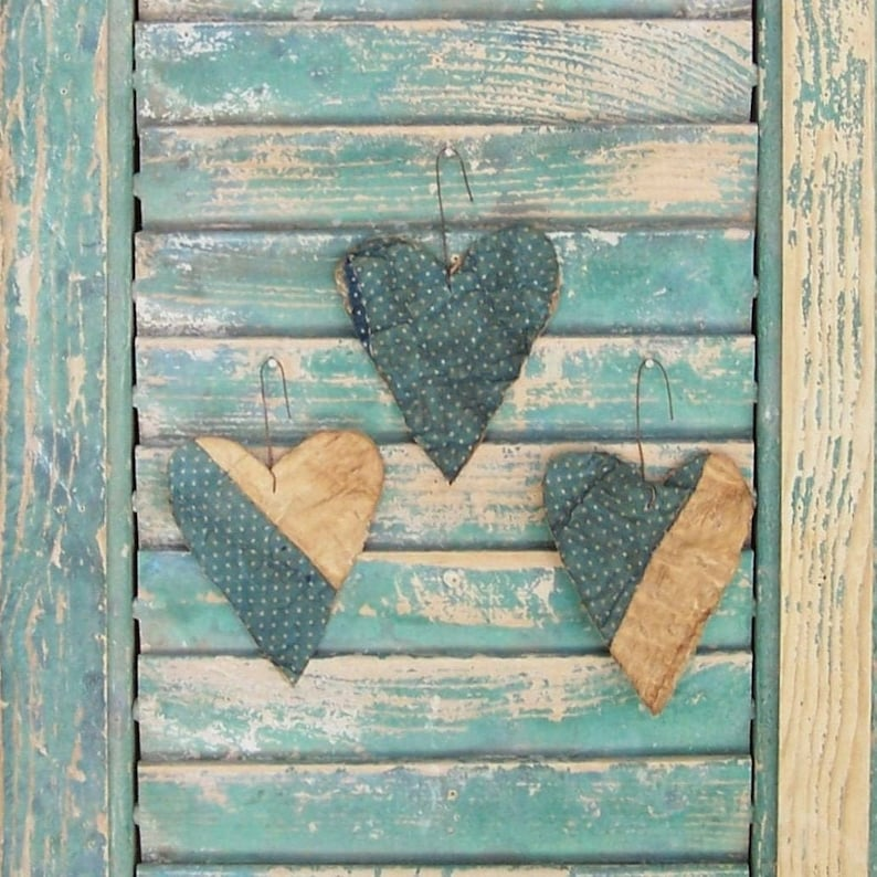 3 SMALL Primitive Valentine Tattered Heart Ornaments made from image 0