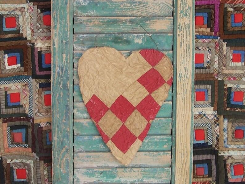 Primitive Valentine Heart Hanger Red & White Rustic Heart image 0