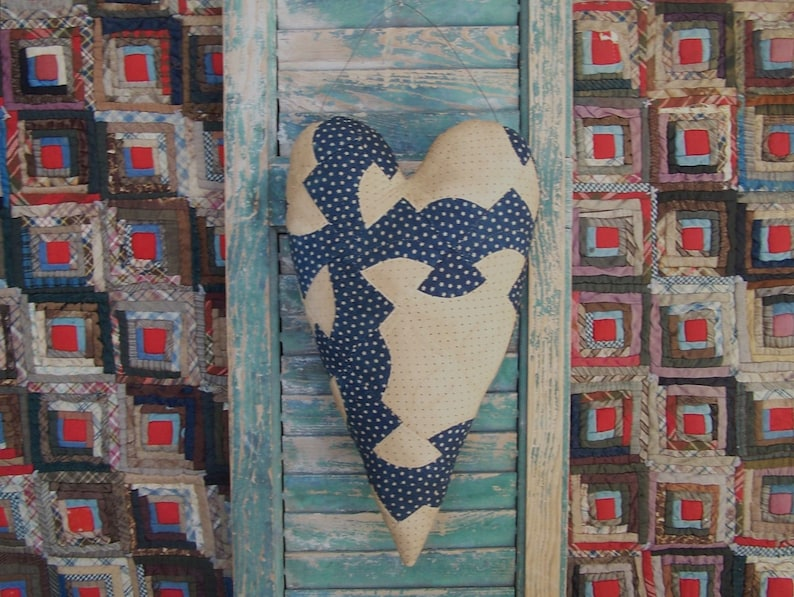 Rustic Heart Primitive Door Hanger made from Antique Quilt image 0