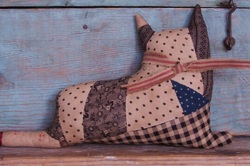 Rustic Stuffed Cat Doll Antique Quilt Top Red Christmas Bow image 0