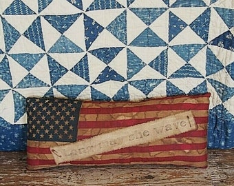 Primitive Flag Pillow - Long May She Wave - GRUNGY American Flag Pillow, Rustic 4th of July, Primitive Farmhouse Decor, Porch Swing Pillows