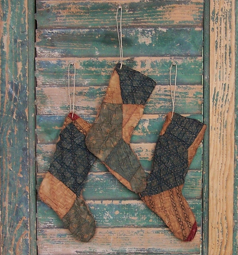 3 Primitive Stocking Ornaments made from Antique Quilt Blue image 0