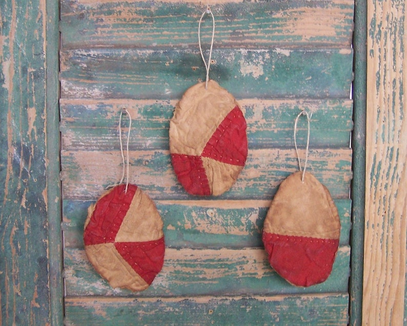 3 Small Tattered Egg Ornaments Antique Quilt Easter Eggs image 0