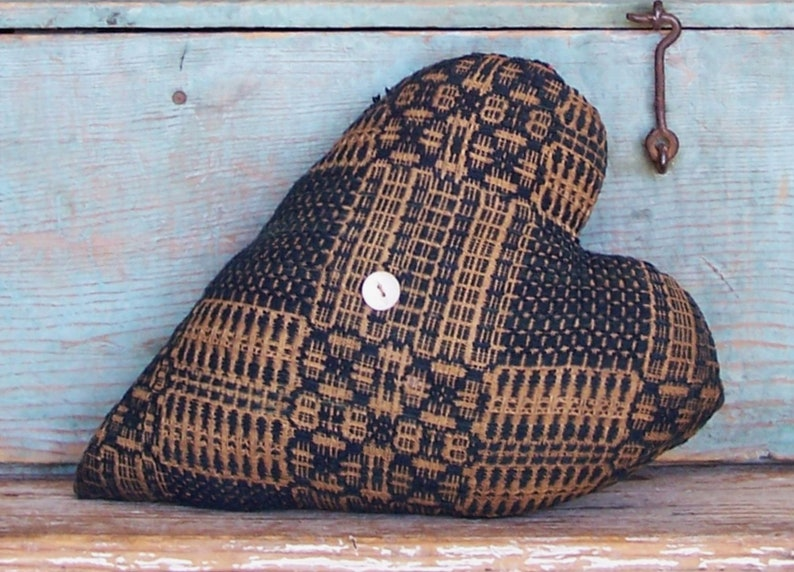 Heart Pillow made from Antique Coverlet Primitive Country image 0
